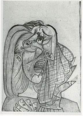 一幅是毕加索的素描作品,另一幅是毕加索的纸上彩墨作品.高清图片